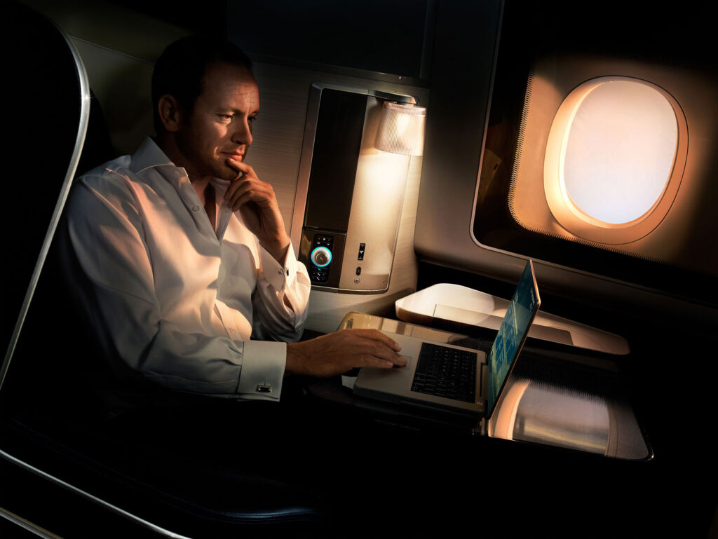 A passenger relaxing in British Airways First
