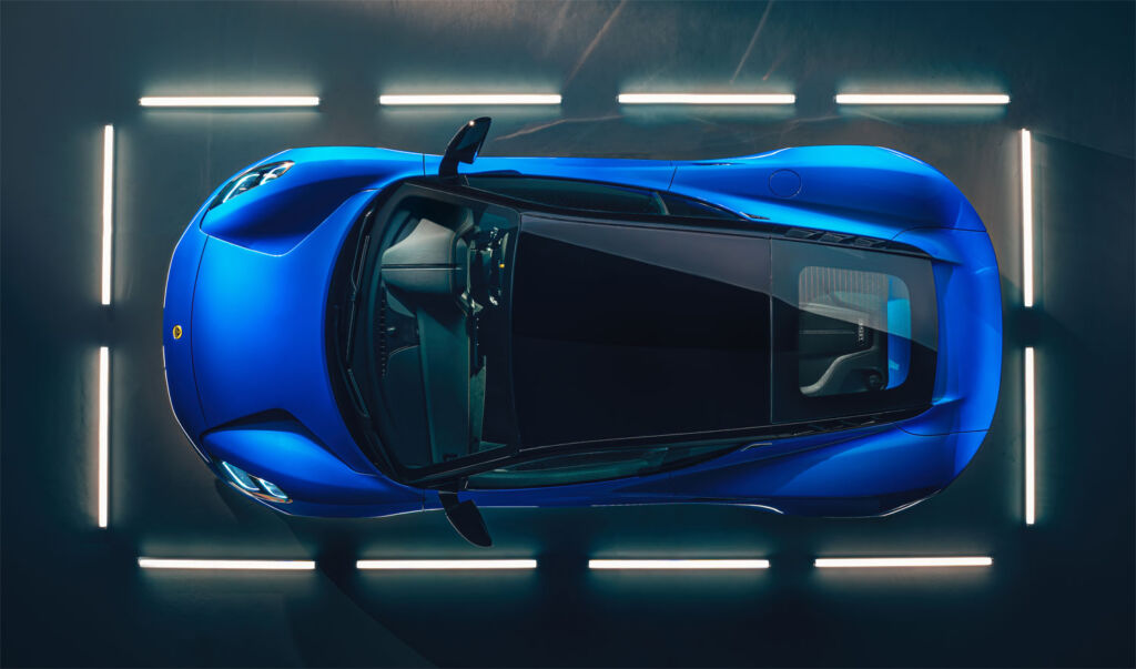A birds eye view of the car directly from above