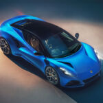 Aerial view of the Lotus Emira in blue