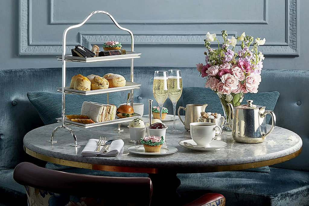 Afternoon Tea at the Stafford laid out on a marble table