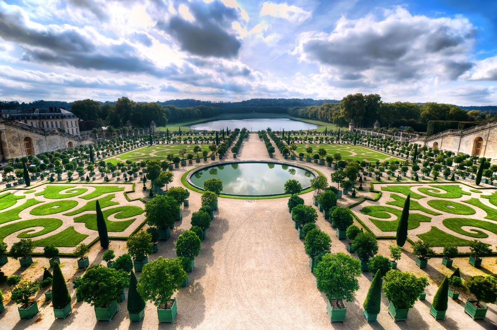 An aerial view of the gardens at the Palace of Versailles