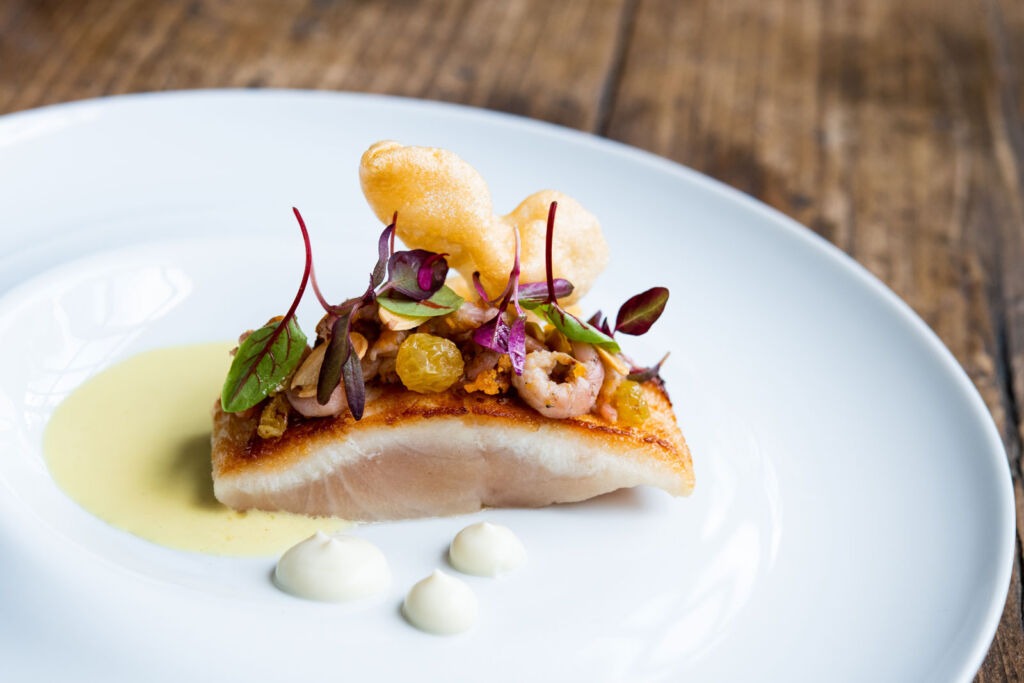 Arctic-Charr, Potted-Shrimps, Cauliflower, Curried Mead Veloute Photo by Jenny Jones Photography.
