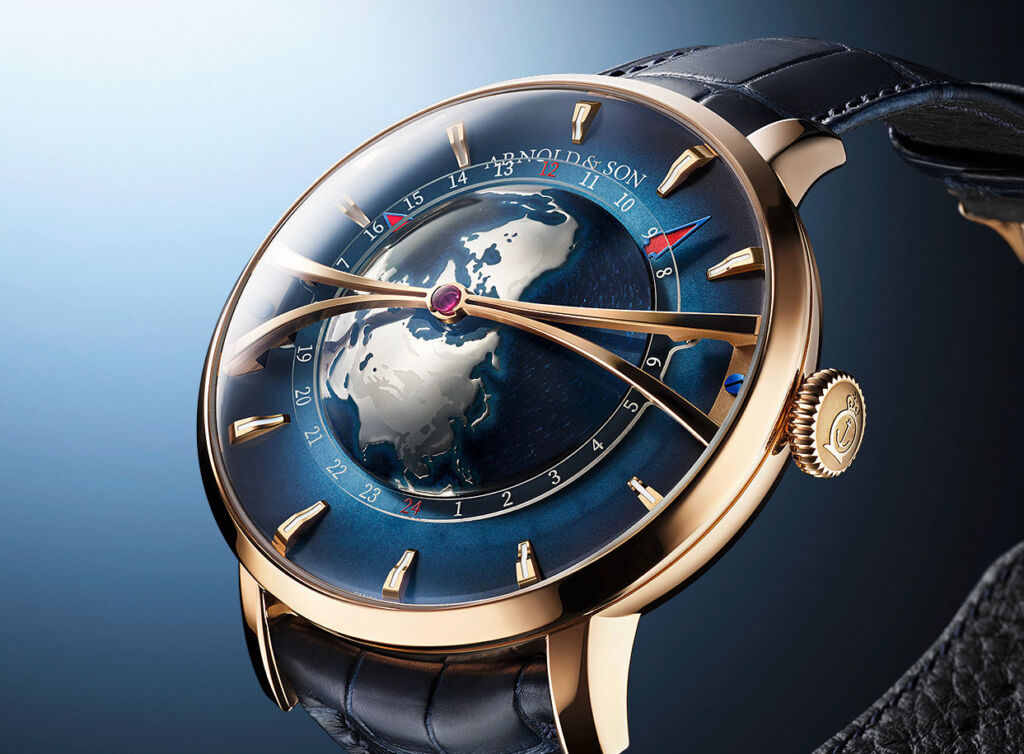 A side view of the Globetrotter timepiece showing the domed representation of the Earth
