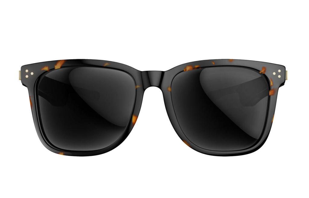 A closeup up front-on view of the sunglasses showing the lenses