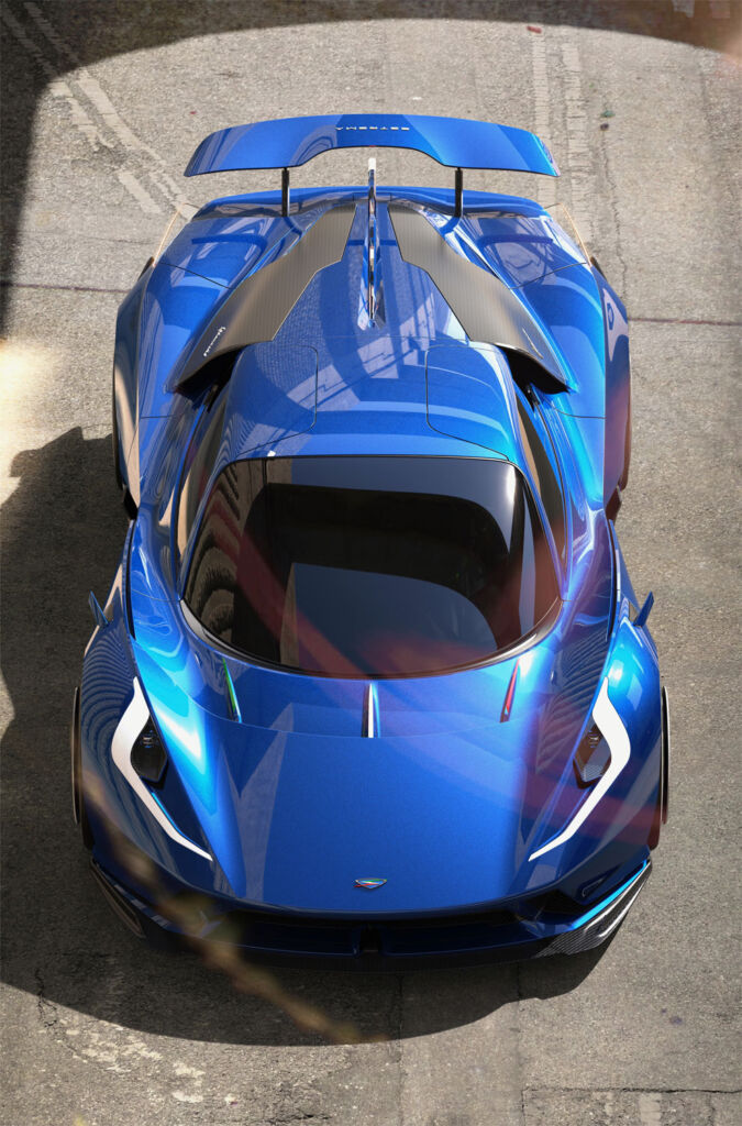 A view of the blue hypercar from above