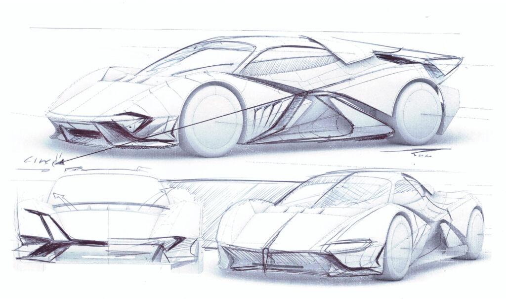 A preliminary pre-build sketch of the hypercar