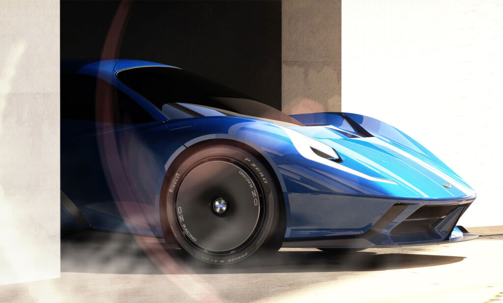 A render of the car exiting a garage