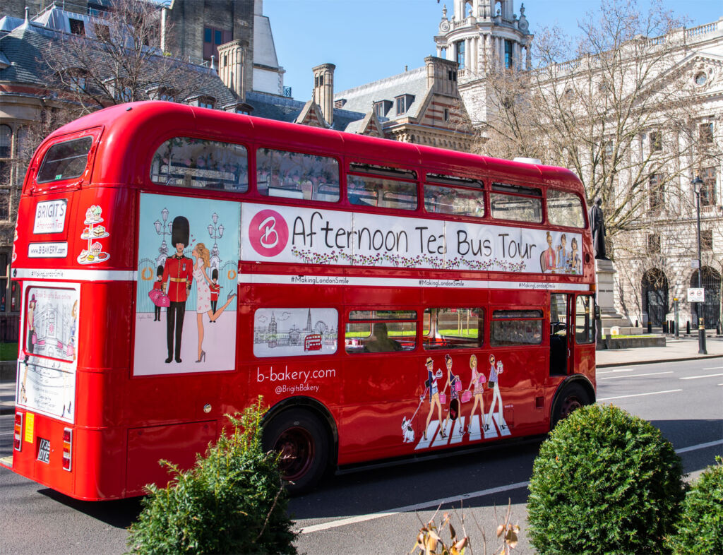 Enjoying the sights of London on Brigit's Bakery Afternoon Tea Bus Tour
