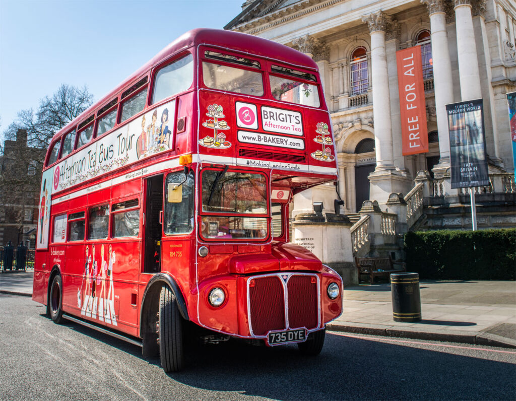 The Red Double Decker Routemaster Bus outside a museum in London