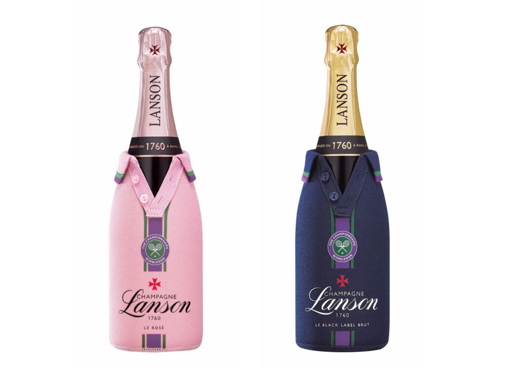 The two jacket styles wrapped around bottles of champagne
