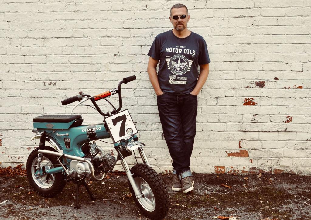 David Sutton with the Oily Rag Co Monkey Bike