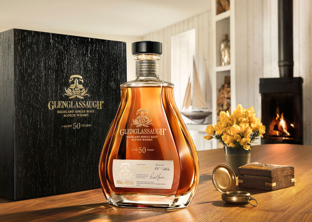 Glenglassaugh Rare 50 Year Old Whisky next to its case on a table