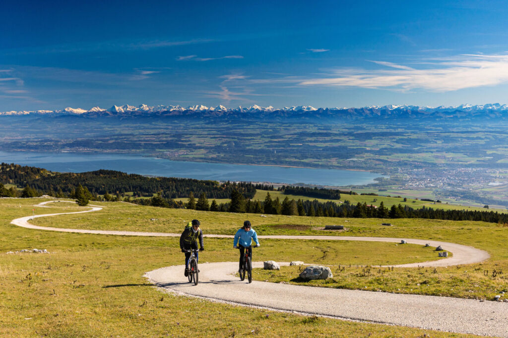 A couple on a bike ride in the hills of Canton of Vaud