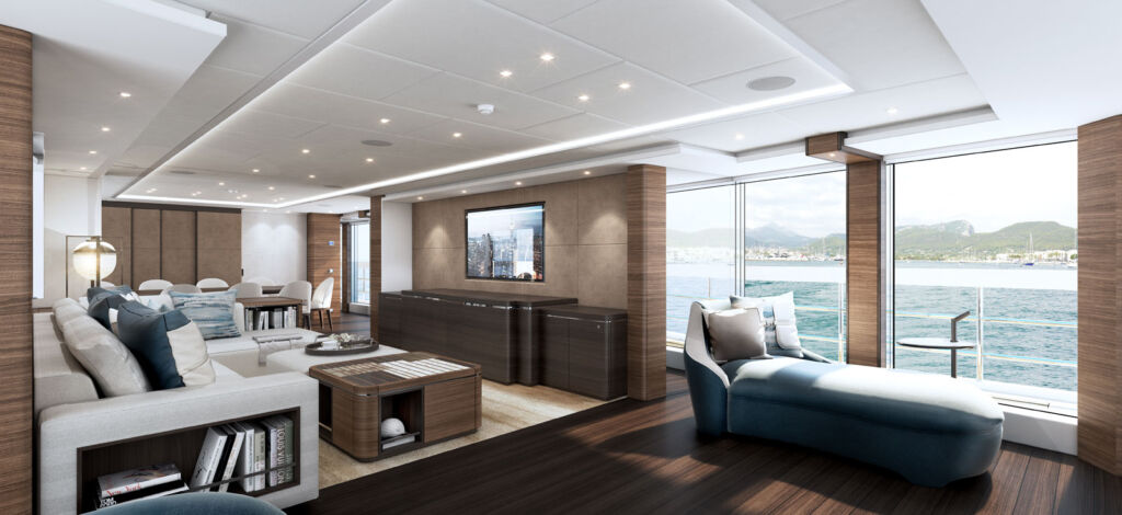 A view inside the main saloon on the superyacht