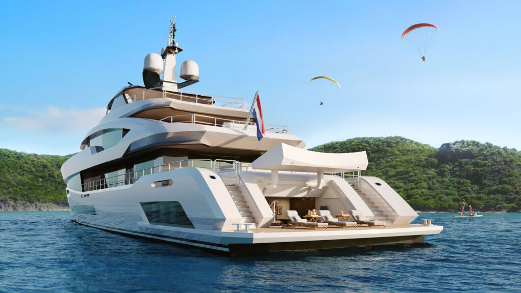 The rear of the yacht showing the beach club with easy access platform for entering the water