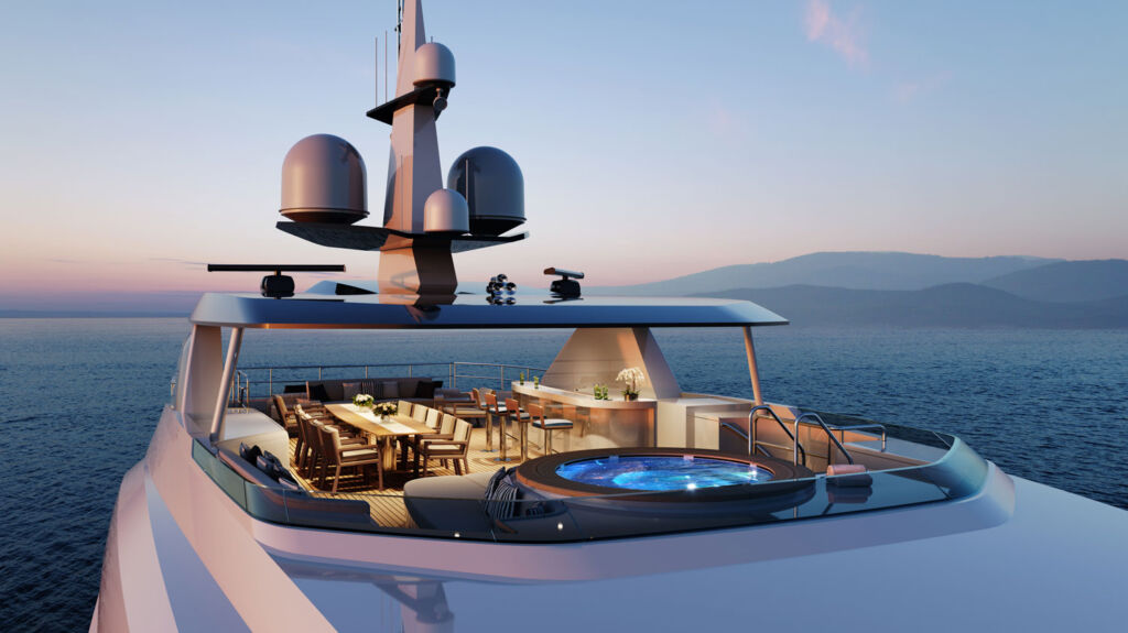 The upper deck with a further dining area and large whirlpool bath