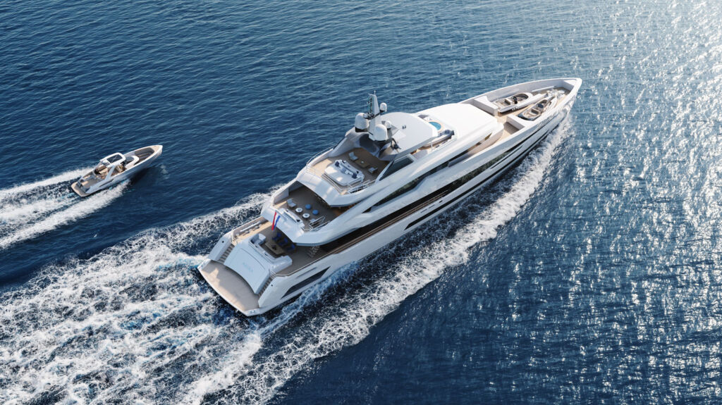 Heesen Yachts Project Akira viewed from above with a tender next to it