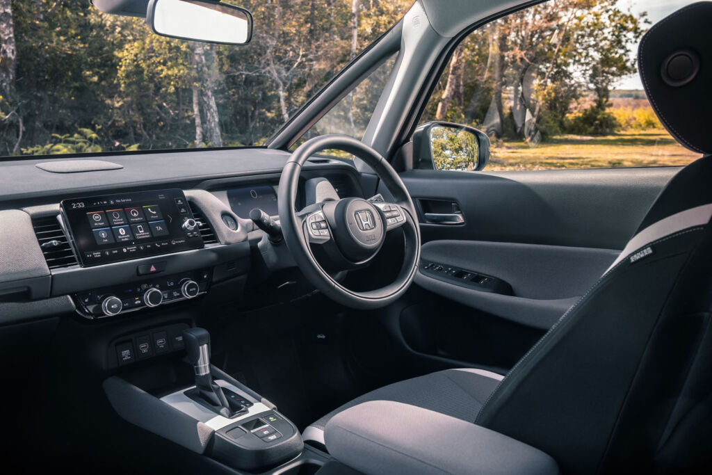 The drivers seat position and an overall view of the dashboard