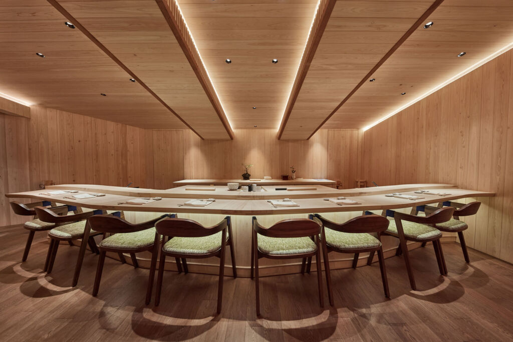 The minimalist and traditional design inside the restaurant