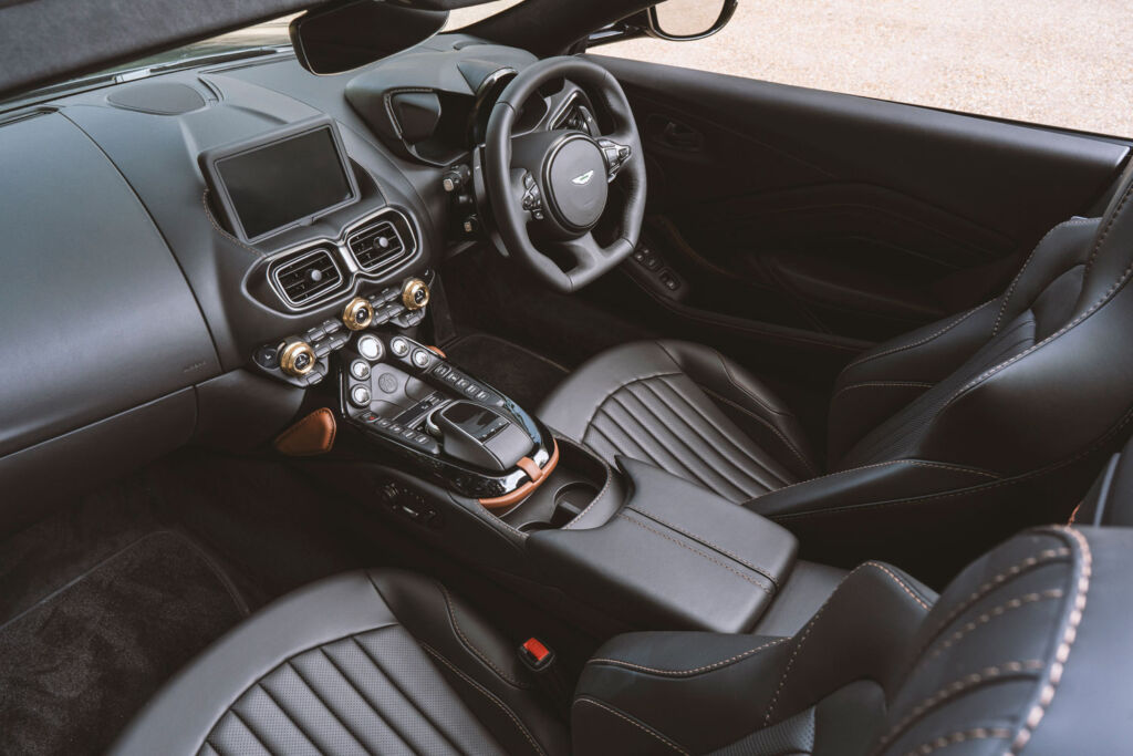 The black leather interior of the new celebratory model