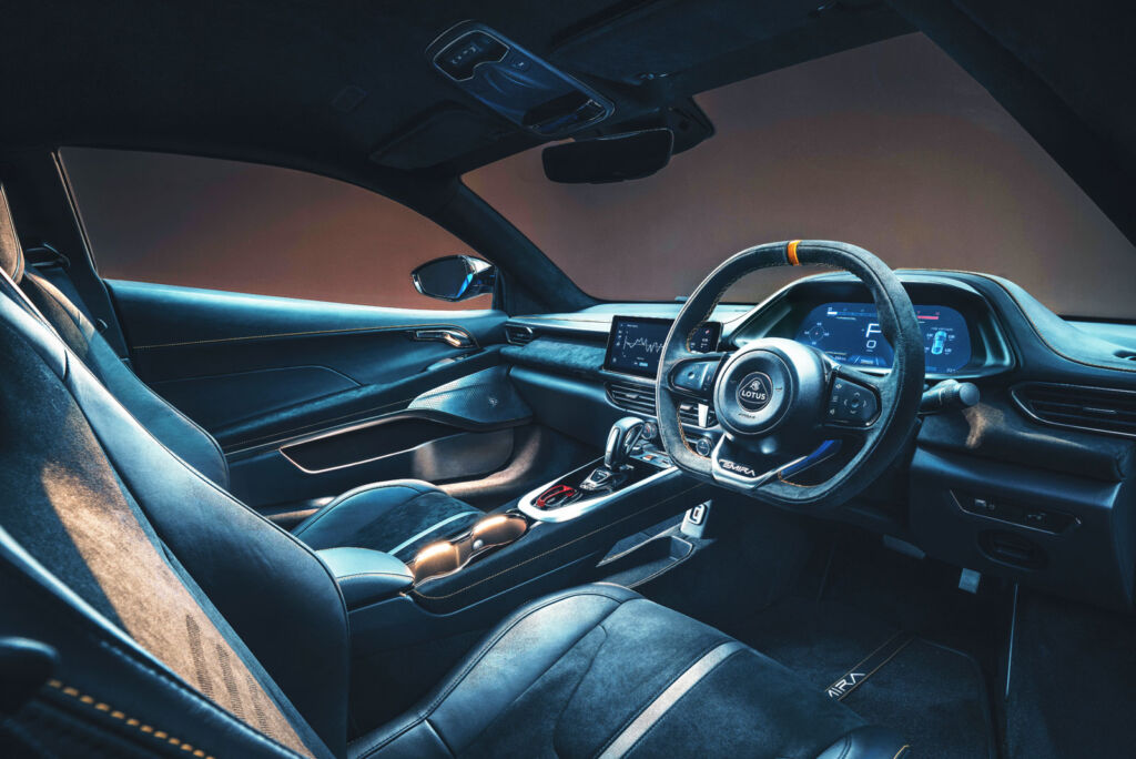 A view of the dashboard and the driver and passenger seats