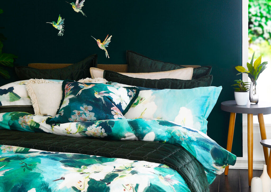 An alternative view of the Avital linen collection on a bed
