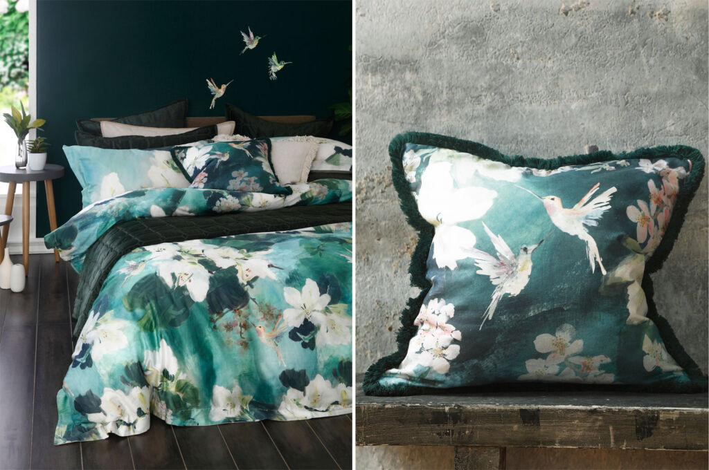 The Avital collection, bedding and an image of a cushion