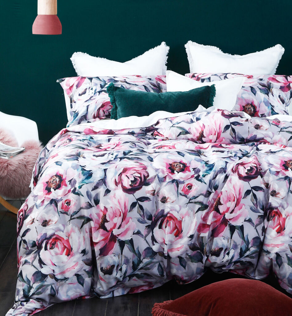 The light coloured Stella collection of bed linen