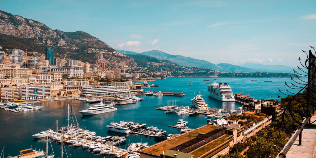 Monaco Harbour on a sunny day filled with superyachts