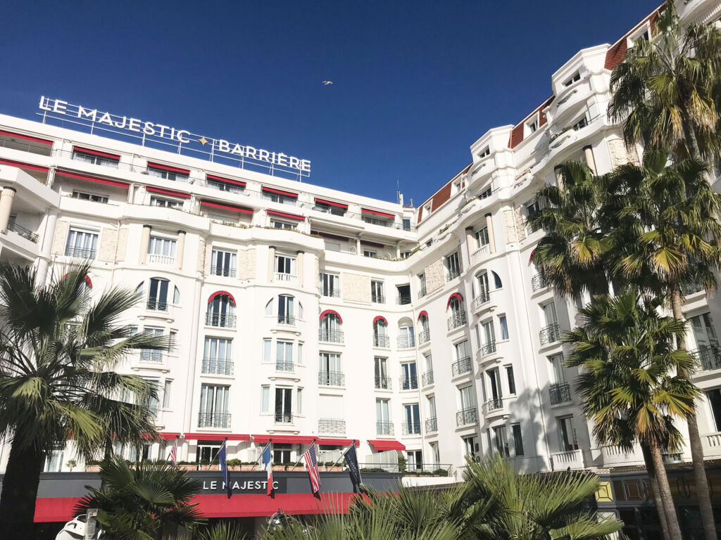 The white exterior of the renowned hotel