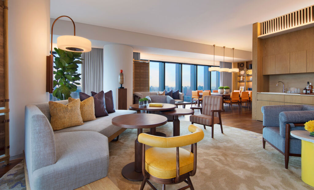 A vast living room in one of the Presidential suites which can be booked on the DayAway app