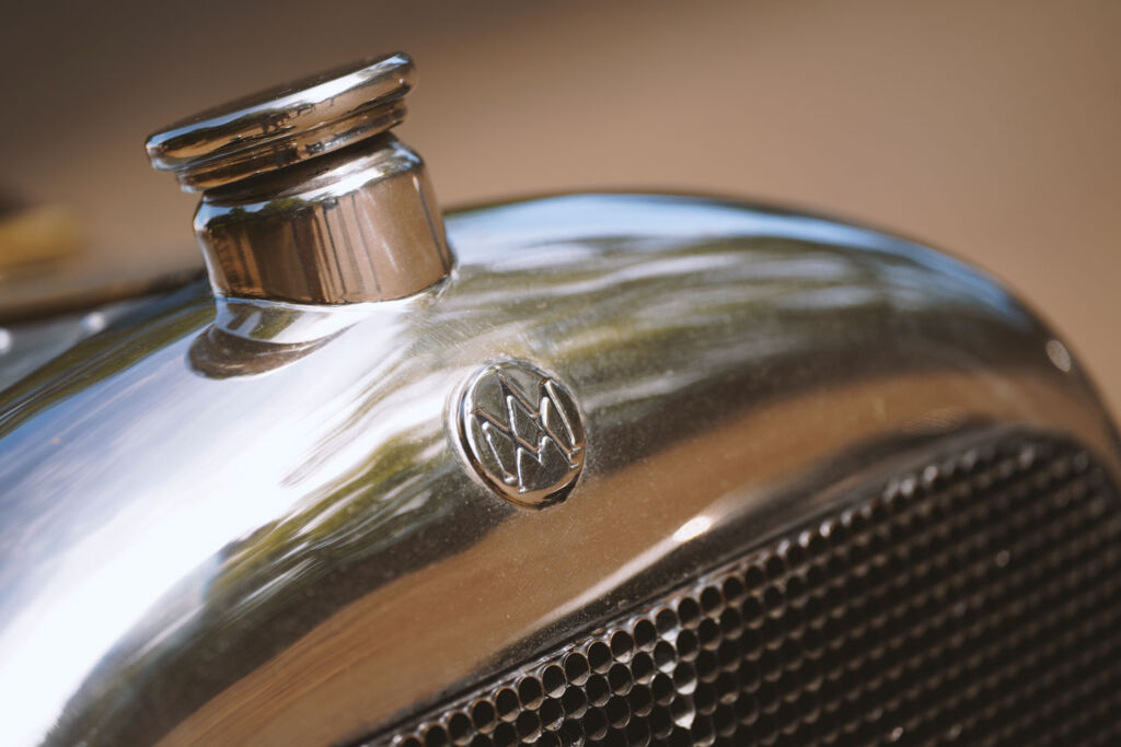 The front grill of the original A3 showing its chrome badge