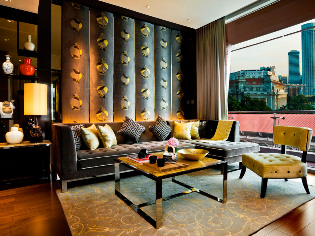 A living room in one of the Fullerton Bay Hotel suites in Singapore