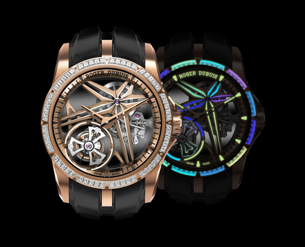 The Glow Me Up timepiece with the front of the watch lit and unlit