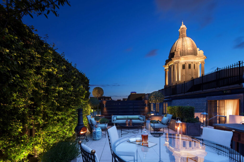 The private rooftop garden at the beautiful Rosewood London