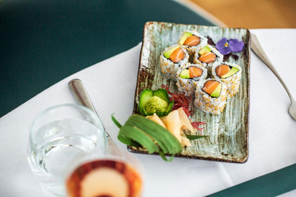 Salmon and avocado maki roll