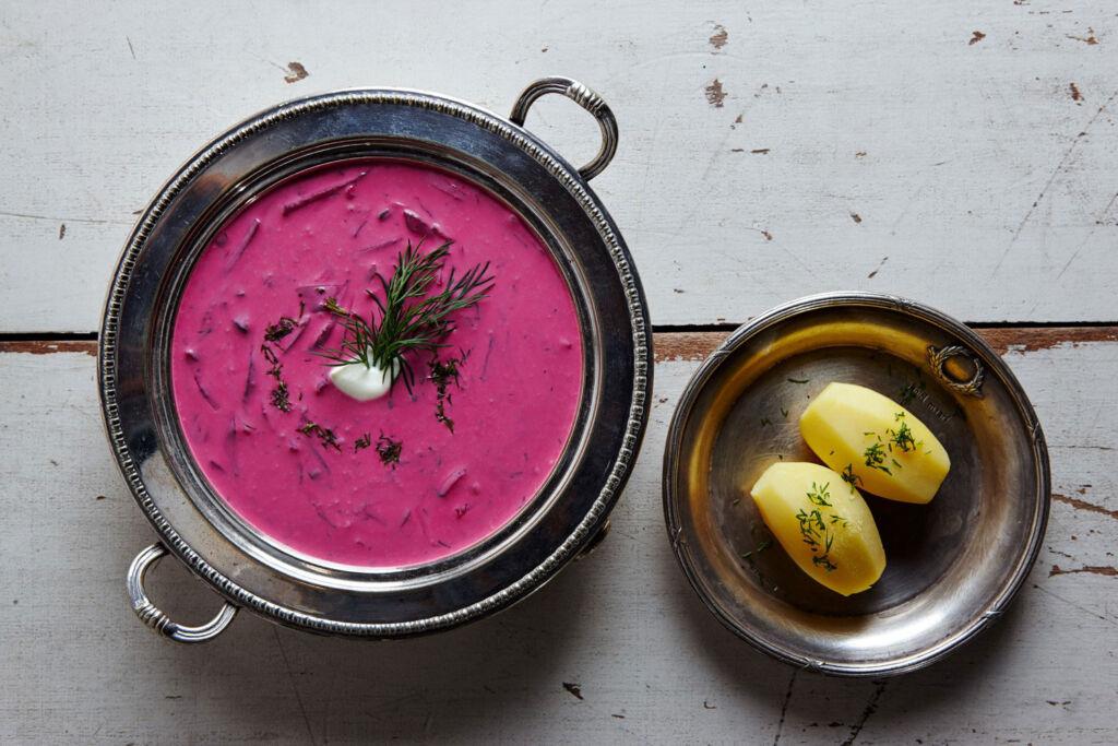 Lithuanina Šaltibarščiai, also known as Pink, Cold, Kinky Soup. Photo by Nerijus Paluckas.