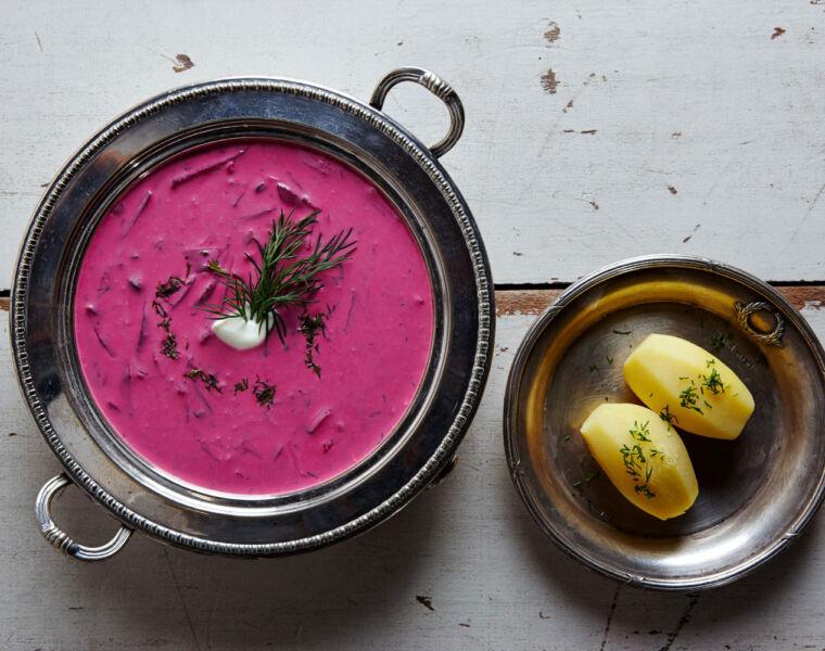 Šaltibarščiai, also known as Pink, Cold, Kinky Soup. Photo by Nerijus Paluckas.