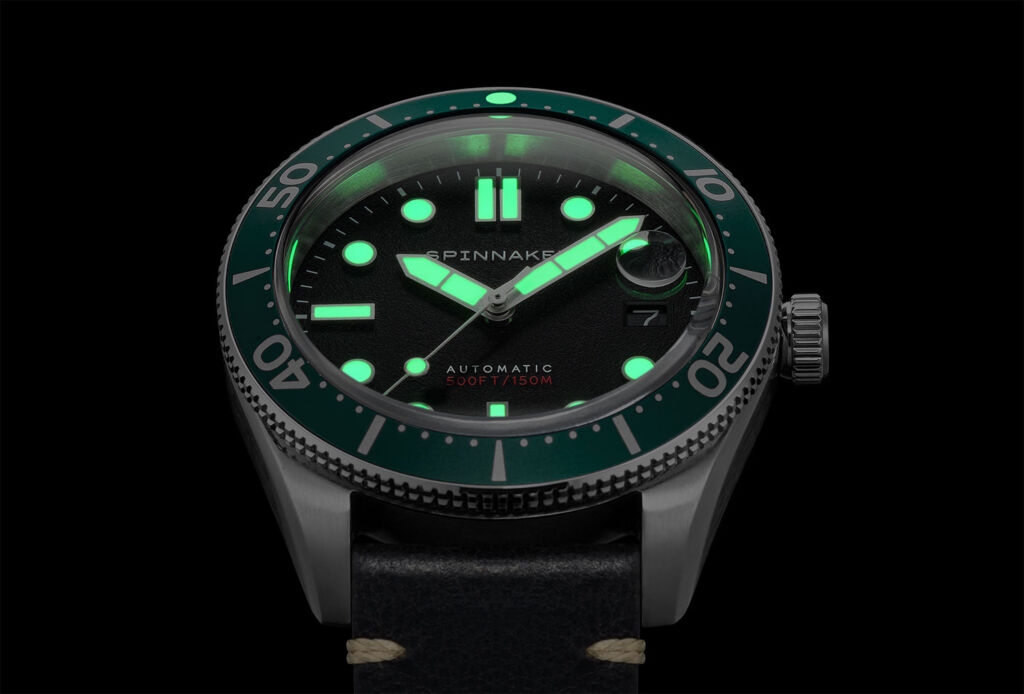 The watch face at night showing the full effect of the Super LumiNova