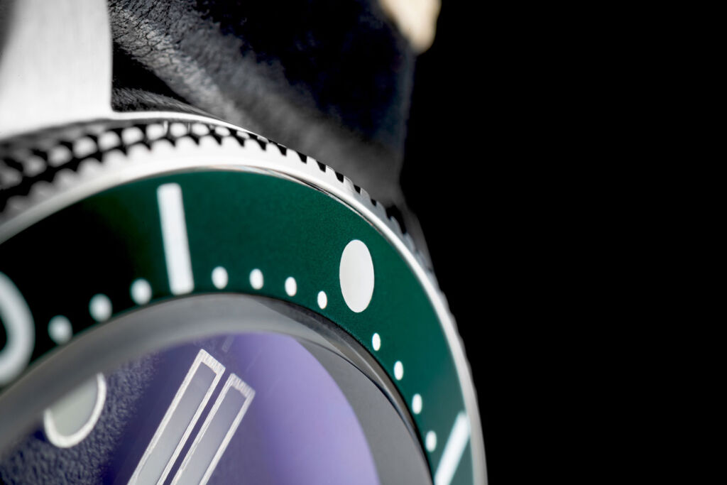 A closeup view of the bezel on the watch