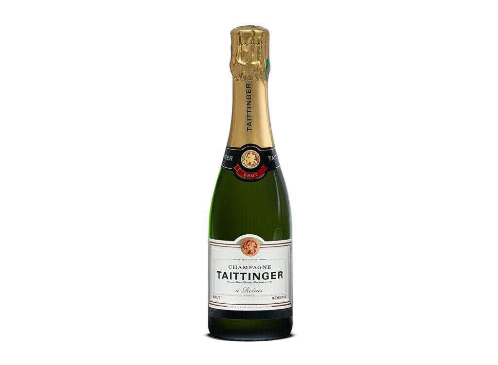 A half sized bottle of Taittinger Brut Reserve