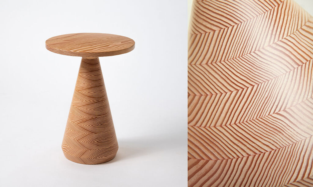 A closeup view of the table and the grain of the wood