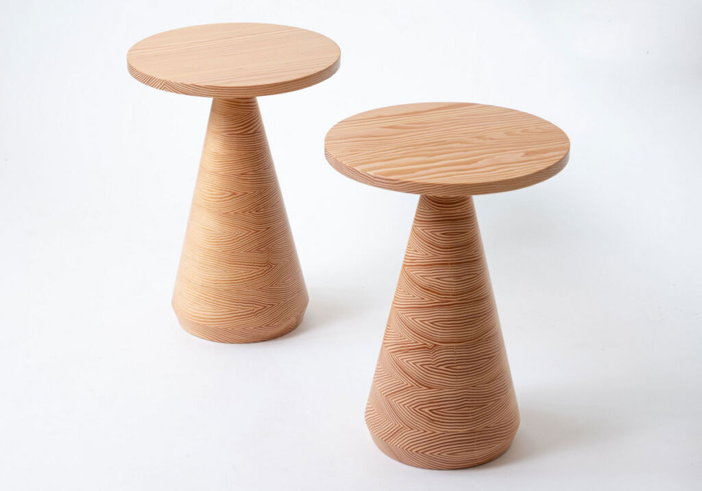 Two of the side tables showing the subtle difference in the wood grain