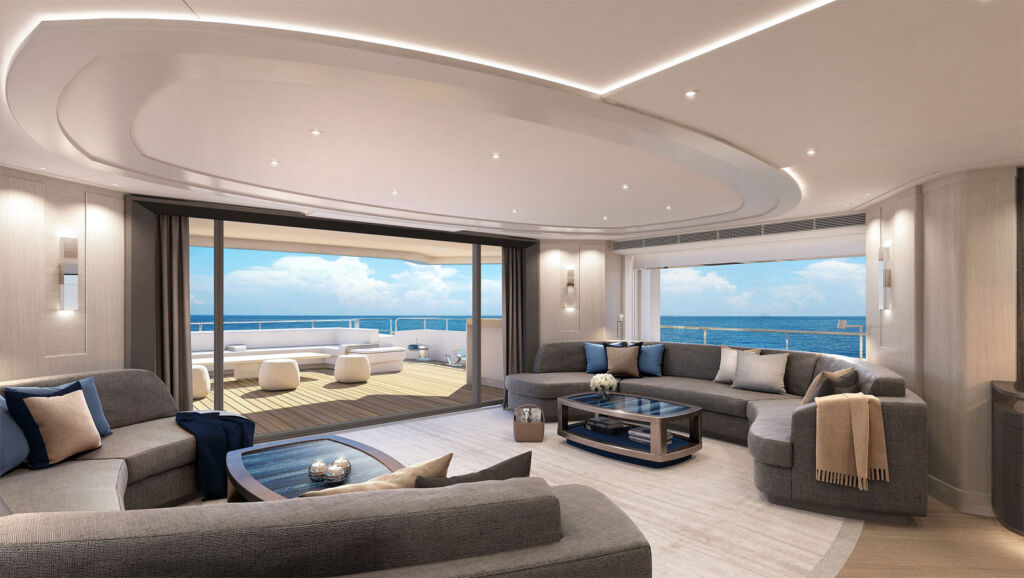 Inside the comfortable and tastfully decorated main lounge on the yacht