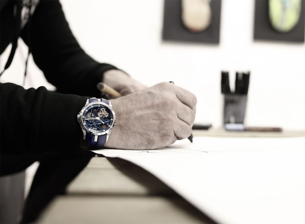 A man wearing the blue version of the Single Flying Tourbillon