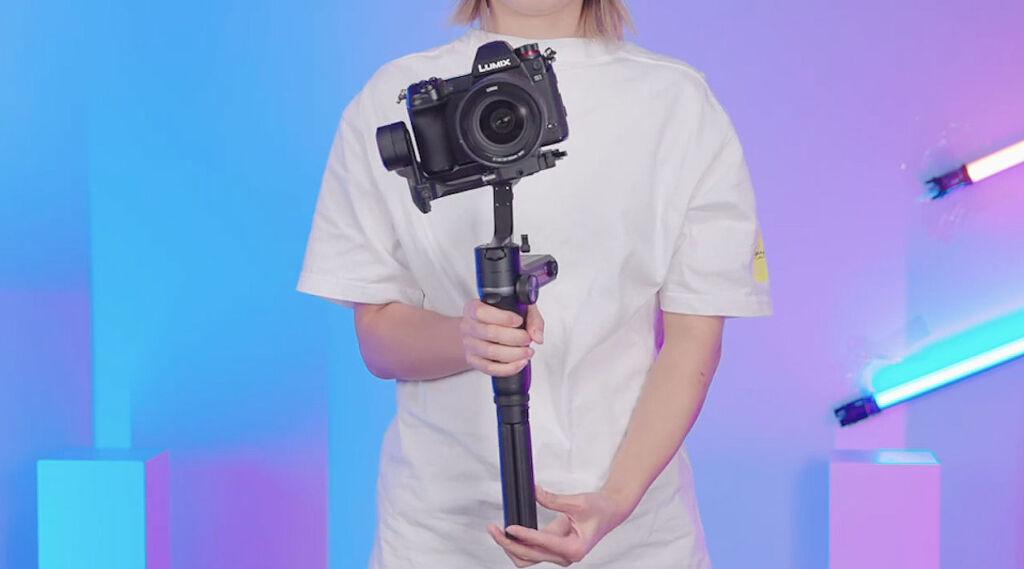 The Weebill S with a Panasonic Lumix camera mounted