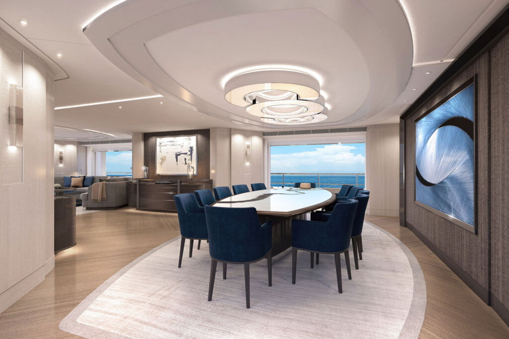 The dining area off the main lounge with incredible views over the sea