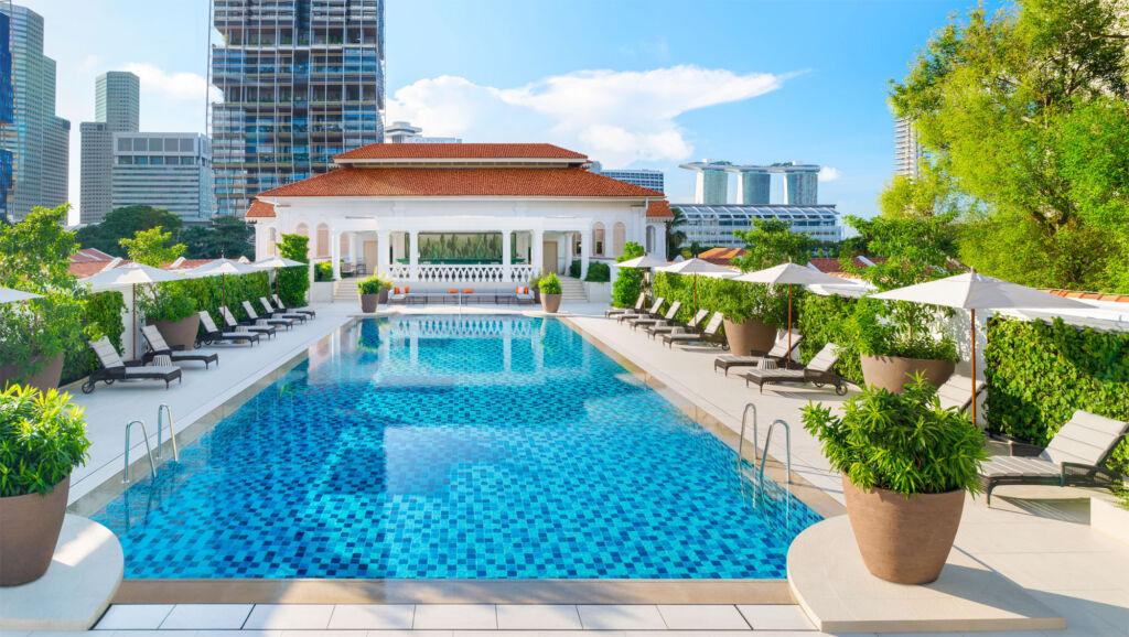 The swimming pool at Raffles Hotel Singapore