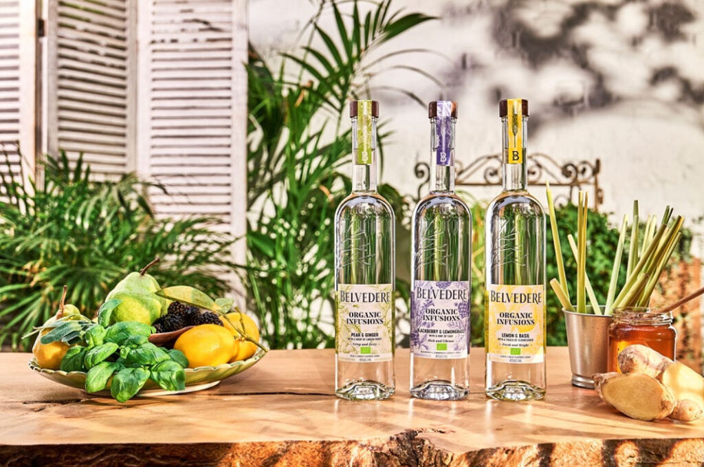 The three varieties of Belvedere Organic Infusions Vodka