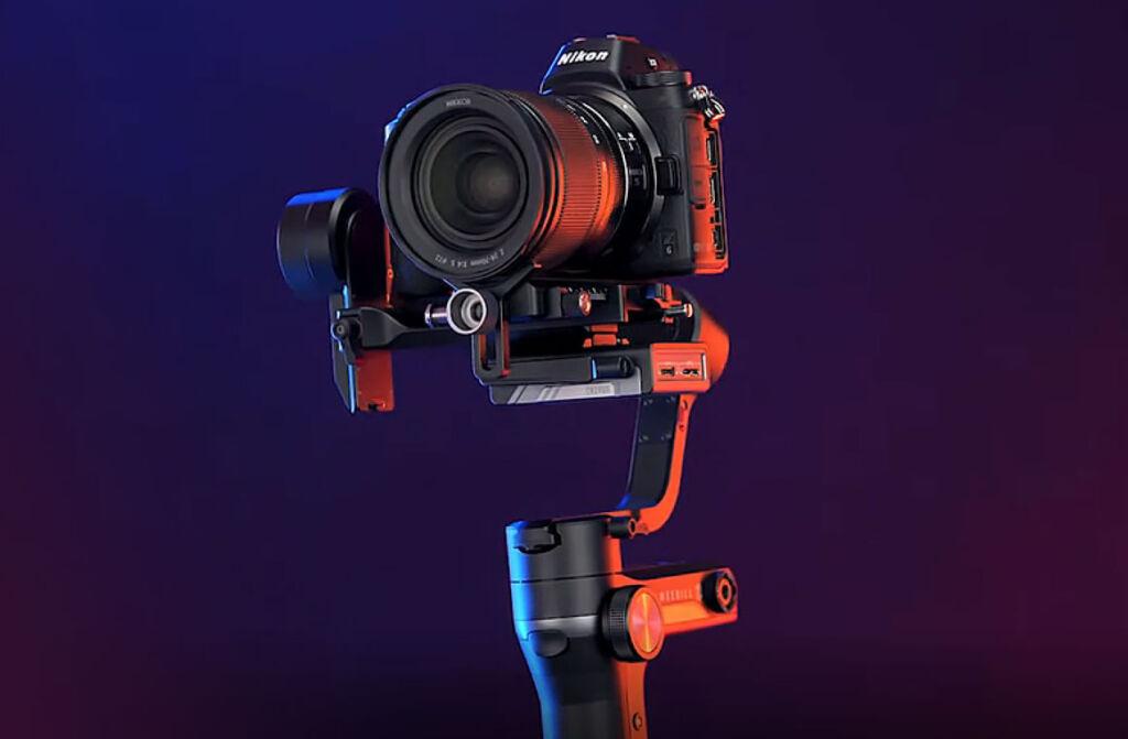 The Zhiyun stabiliser holding a Nikon DSLR camera